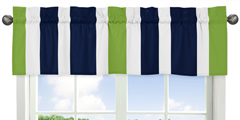 Navy Blue and Lime Green Stripe Collection Window Valance...