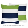 Navy Blue and Lime Green Stripe Decorative Accent Throw Pillows - Set of 2