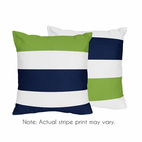 Navy Blue And Lime Green Stripe Decorative Accent Throw