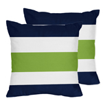 JoJo Designs Navy Blue and Lime Green Stripe Decorative A...