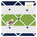 JoJo Designs Navy Blue and Lime Green Stripe Fabric Memor...