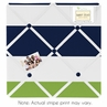 Navy Blue and Lime Green Stripe Fabric Memory/Memo Photo Bulletin Board