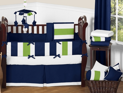 Navy Blue and Lime Green Stripe Baby Bedding - 9pc Crib Set by Sweet Jojo Designs - Click to enlarge