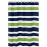 Navy Blue and Lime Green Stripe Kids Bathroom Fabric Bath Shower Curtain