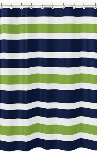 Blue And Green Kitchen Curtains Brown Ticking Stripe Shower