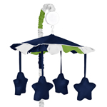 Navy Blue and Lime Green Stripe Musical Baby Crib Mobile by Sweet Jojo Designs