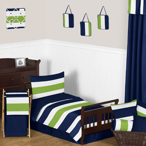 Navy Blue and Lime Green Stripe Toddler Bedding - 5pc Set...