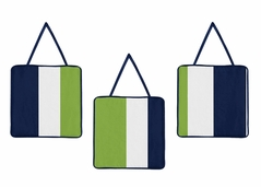 Navy Blue and Lime Green Stripe Wall Hanging Accessories by Sweet Jojo Designs