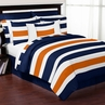 Navy Blue and Orange Stripe 4pc Twin Teen Bedding Set Collection