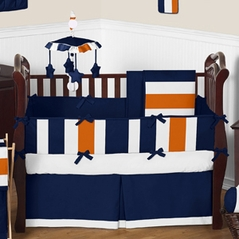 Navy Blue and Orange Stripe Baby Bedding - 9pc Crib Set by Sweet Jojo Designs