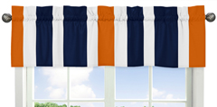 Navy Blue and Orange Stripe Collection Window Valance by Sweet Jojo Designs