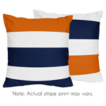 Navy Blue and Orange Stripe Decorative Accent Throw Pillows - Set of 2
