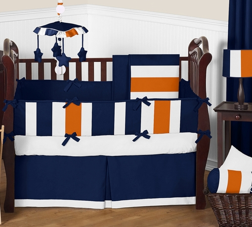 Navy Blue and Orange Stripe Baby Bedding - 9pc Crib Set by Sweet Jojo Designs - Click to enlarge