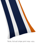 Navy Blue and Orange Stripe Full Length Double Zippered Body Pillow Case Cover