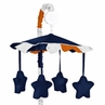 Navy Blue and Orange Stripe Musical Baby Crib Mobile by Sweet Jojo Designs