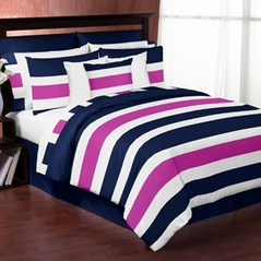 Navy Blue and Pink Stripe - 4 pc Twin Set by Sweet Jojo Designs