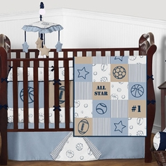 Navy Blue and Taupe Sports Star Patch Baby Bedding - 9pc Boys Crib Set