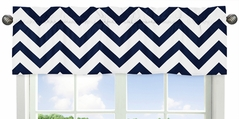 Navy and White Chevron Collection Zig Zag Window Valance