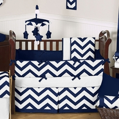 Navy Blue and White Chevron Baby Bedding - 9 pc Crib Set by Sweet Jojo Designs