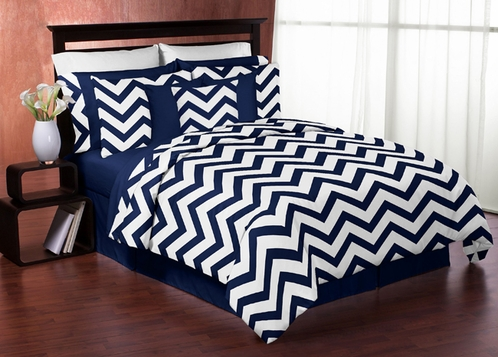 Navy and White Chevron 3pc Childrens and Teen Zig Zag Full / Queen Bedding Set Collection - Click to enlarge