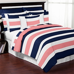Navy Blue, Coral and White Stripe 4 Piece Childrens, Kids, and Teen Bedding Set Collection by Sweet Jojo Designs