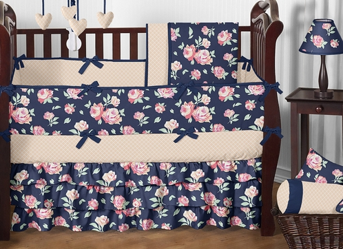 Navy blue coral peach and pink floral charlotte baby bedding 9pc girls