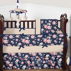 Navy Blue, Coral, Peach and Pink Floral Charlotte Baby Bedding - 9pc Girls Crib Set by Sweet Jojo Designs