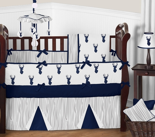 Woodland Deer Baby Bedding - 9pc Boys Crib Set by Sweet Jojo Designs - Click to enlarge