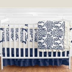 Navy Blue, Gold and White Hailey Damask Baby Bedding 9pc Girls Crib Set by Sweet Jojo Designs