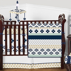 Navy Blue Gold Mint Grey and White Tribal Aztec Baby Bedding - 9pc Girls Boys Crib Set by Sweet Jojo Designs