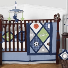 Navy Blue Green Grey and White All Star Sports Baby Boy Bedding 9 pc Crib Set by Sweet Jojo Designs