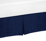 Navy King Bed Skirt for Modern Blue and Orange Stripe Bedding Sets by Sweet Jojo Designs