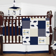 Navy Blue, Metallic Gold and White Bear Country Baby Bedding - 9pc Boys Crib Set by Sweet Jojo Designs