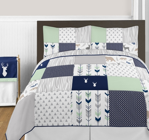 Navy Blue Mint and Grey Woodsy Deer 3pc Boy Full Queen