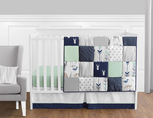 Navy Blue Mint And Grey Woodsy Deer Baby Bedding 11pc