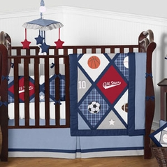 Navy Blue Red Grey and White All Star Sports Baby Boy Bedding 9 pc Crib Set by Sweet Jojo Designs