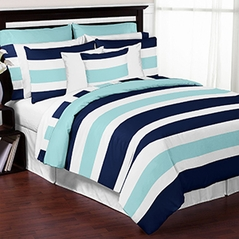 Navy Blue, Turquoise and White Stripe 4 Piece Childrens, Kids, and Teen Bedding Set Collection by Sweet Jojo Designs