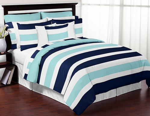 Navy Blue Turquoise And White Stripe 4 Piece Childrens