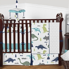Navy Blue, Turquoise, Lime Green, Olive Green, Grey and White Dinosaur Mod Dino - 9 Piece Baby Boy Bedding Crib Set