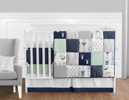 Navy Blue, Mint and Grey Woodsy Deer Baby Bedding - 9pc Boys Crib Set by Sweet Jojo Designs - Click to enlarge