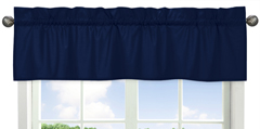 Navy Window Valance for Navy Blue and Orange Stripe Collection by Sweet Jojo Designs