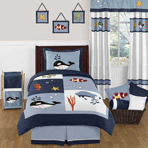 Ocean Blue Sea Life 3pc Full / Queen Bedding Set by Sweet...