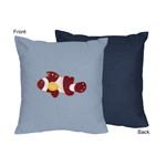 Ocean Blue Sea Life Decorative Accent Throw Pillow by Sweet Jojo Designs