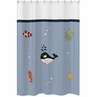 Ocean Blue Sea Life Kids Bathroom Fabric Bath Shower Curtain