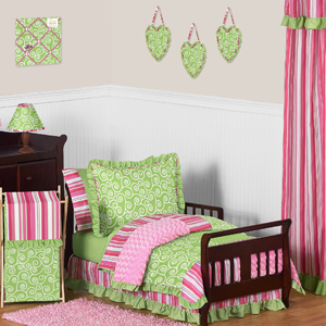 JoJo Designs Olivia Girls Boutique Pink and Green Toddler...