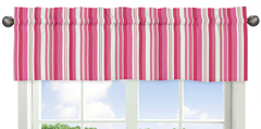 Stripe Window Valance for Olivia Pink and Green Collection by Sweet Jojo Designs
