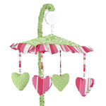 Olivia Pink and Green Musical Baby Crib Mobile by Sweet Jojo Designs