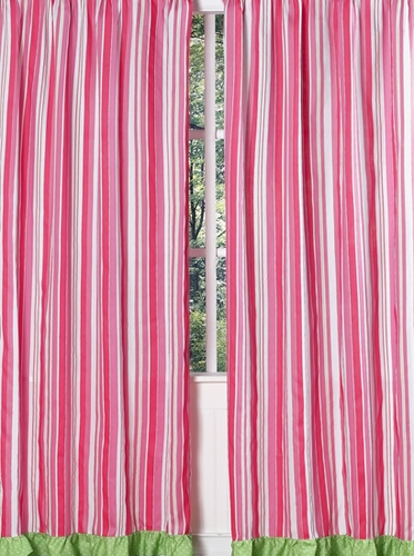 Olivia Pink and Green Stripe Window Treatment Panels - Set of 2 - Click to enlarge