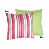 Olivia Pink and Green Stripes/Dots Accent Throw Pillow