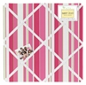 Olivia Pink Lime and White Stripe Fabric Memory/Memo Photo Bulletin Board by Sweet Jojo Designs